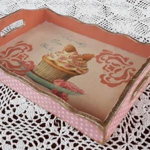 Tálca muffinos mintával (vintageajandek) - Meska.hu