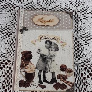 Receptfüzet csokis vintage stílusú mintával (vintageajandek) - Meska.hu