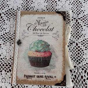 Receptfüzet muffin mintával, Otthon & lakás, Konyhafelszerelés, Receptfüzet, Lakberendezés, Decoupage, transzfer és szalvétatechnika, A képen látható különleges receptkönyv készleten van,de hasonlót egész évben folyamatosan rendelhets..., Meska