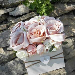 Rózsabox  fa dobozban vintage cappucinó virágokkal (vintageajandek) - Meska.hu