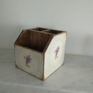 Vintage stílusú levendula mintás tároló doboz/tolltartó/smink tartó (vintageajandek) - Meska.hu