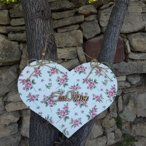 Nagy méretű vintage rózsás ajtódísz/lakásdekoráció (vintageajandek) - Meska.hu