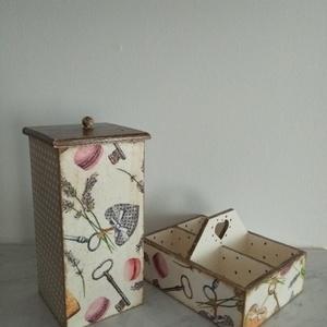 Vintage stílusú macaronos mintás tároló doboz szett, Otthon & lakás, Dekoráció, Lakberendezés, Tárolóeszköz, Doboz, Decoupage, transzfer és szalvétatechnika, Festett tárgyak, Különleges stílusú macaronos mintás doboz szett.\nAz osztott négyes doboz használható asztali fűszer ..., Meska