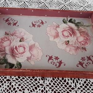 Vintage stílusú rózsás tálca fából (vintageajandek) - Meska.hu