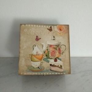 Vintage  sütis -tea mintás teafiltertartó doboz/varrós doboz - Meska.hu
