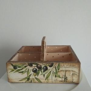 Vintage stílusú olívás tároló doboz osztott négyes - Meska.hu