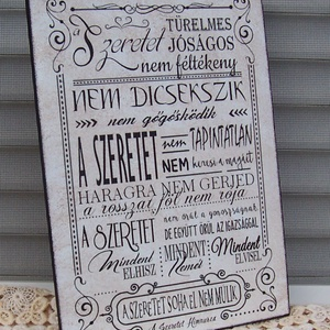 A szeretet himnusza  idézetes  falikép, táblakép, Dekoráció, Otthon & lakás, Lakberendezés, Falikép, Kép, Decoupage, transzfer és szalvétatechnika, Akrilfestékkel  és transzfertechnikával  készült saját  szerkesztésű  falikép akasztóval.\nA képet, s..., Meska