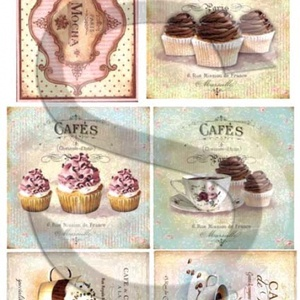 Vintage sorozat: Cafe de Paris, Papír, Decoupage papír, Decoupage, szalvétatechnika, Decoupage minták, A 4-s méretű rizsnyomat, vékony 20 gr-s rizspapíron, découpage technikához. Az eredeti nyomatot vízj..., Meska