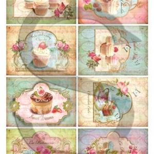 Vintage sorozat: Muffinok 2., Papír, Decoupage papír, Decoupage, szalvétatechnika, Decoupage minták, A 4-s méretű rizsnyomat, vékony 20 gr-s rizspapíron, découpage technikához. Az eredeti nyomatot vízj..., Meska