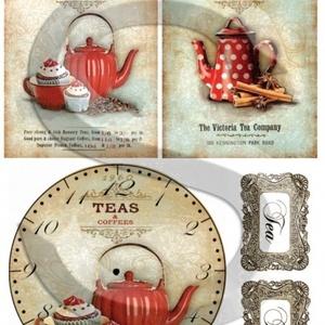 Vintage sorozat: Pöttyös teáskanna kollekció rizspapír, Papír, Decoupage papír, Decoupage, szalvétatechnika, Decoupage minták, A 4-s méretű rizsnyomat, vékony 20 gr-s rizspapíron, découpage technikához. Az eredeti nyomatot vízj..., Meska