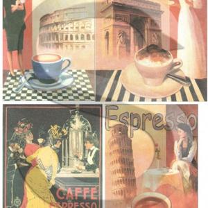 Vintage sorozat :Caffé , Papír, Decoupage papír, Decoupage, szalvétatechnika, Decoupage minták, A 4-s méretű rizsnyomat, vékony 20 gr-s rizspapíron, découpage technikához. Az eredeti nyomatot vízj..., Meska