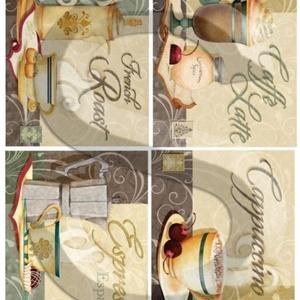 Kávé specialitások, Papír, Decoupage papír, Decoupage, szalvétatechnika, Decoupage minták, A 4-s méretű rizsnyomat, vékony 20 gr-s rizspapíron, découpage technikához. Az eredeti nyomatot vízj..., Meska