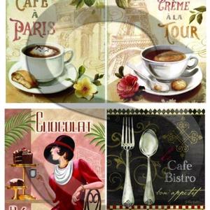 Kávé Párizsban, Papír, Decoupage papír, Decoupage, szalvétatechnika, Decoupage minták, A 4-s méretű rizsnyomat, vékony 20 gr-s rizspapíron, découpage technikához. Az eredeti nyomatot vízj..., Meska