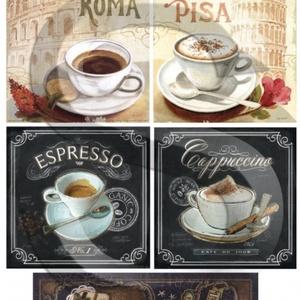 Kávé Rómában, Papír, Decoupage papír, Decoupage, szalvétatechnika, Decoupage minták, A 4-s méretű rizsnyomat, vékony 20 gr-s rizspapíron, découpage technikához. Az eredeti nyomatot vízj..., Meska