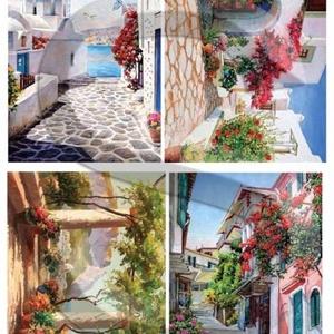 Akvarell sorozat: Görögország, Papír, Decoupage papír, Decoupage, szalvétatechnika, Decoupage minták, A 4-s méretű rizsnyomat, vékony 20 gr-s rizspapíron, découpage technikához. Az eredeti nyomatot vízj..., Meska