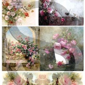 Akvarell sorozat: Rózsák, Papír, Decoupage papír, Decoupage, szalvétatechnika, Decoupage minták, A 4-s méretű rizsnyomat, vékony 20 gr-s rizspapíron, découpage technikához. Az eredeti nyomatot vízj..., Meska