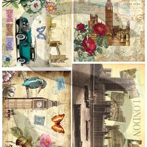 Vintage sorozat: London, Papír, Decoupage papír, Decoupage, szalvétatechnika, Decoupage minták, A 4-s méretű rizsnyomat, vékony 20 gr-s rizspapíron, découpage technikához. Az eredeti nyomatot vízj..., Meska