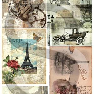 Vintage sorozat:Paris, Papír, Decoupage papír, Decoupage, szalvétatechnika, Decoupage minták, A 4-s méretű rizsnyomat, vékony 20 gr-s rizspapíron, découpage technikához. Az eredeti nyomatot víz..., Alkotók boltja