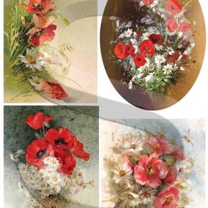 Akvarell sorozat:Mezei virágcsokrok, Papír, Decoupage papír, A 4-s méretű rizsnyomat, vékony 20 gr-s rizspapíron, découpage technikához. Az eredeti nyomatot vízj..., Meska