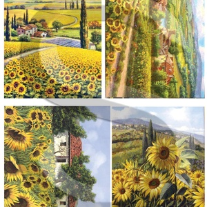 Akvarell sorozat: Napraforgók, Papír, Decoupage papír, A 4-s méretű rizsnyomat, vékony 20 gr-s rizspapíron, découpage technikához. Az eredeti nyomatot vízj..., Meska