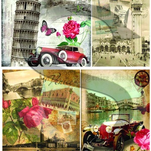 Vintage sorozat:Velence, Papír, Decoupage papír, Decoupage, szalvétatechnika, Decoupage minták, A 4-s méretű rizsnyomat, vékony 20 gr-s rizspapíron, découpage technikához. Az eredeti nyomatot vízj..., Meska