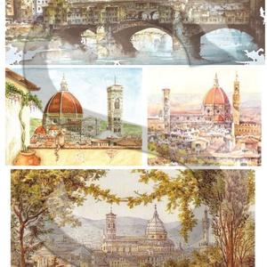 Akvarell sorozat: Firenze, Papír, Decoupage papír, Decoupage, szalvétatechnika, Decoupage minták, A 4-s méretű rizsnyomat, vékony 20 gr-s rizspapíron, découpage technikához. Az eredeti nyomatot vízj..., Meska