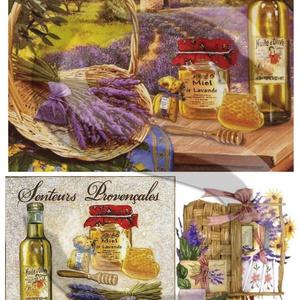 Provence kincsei, Papír, Decoupage papír, Decoupage, szalvétatechnika, Decoupage minták, A 4-s méretű rizsnyomat, vékony 20 gr-s rizspapíron, découpage technikához. Az eredeti nyomatot vízj..., Meska