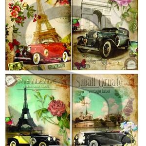 Vintage sorozat: Párizsi autómobilok, Papír, Decoupage papír, Decoupage, szalvétatechnika, Decoupage minták, A 4-s méretű rizsnyomat, vékony 20 gr-s rizspapíron, découpage technikához. Az eredeti nyomatot vízj..., Meska