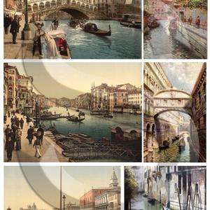 Romantikus utazások sorozat: Velence, Papír, Decoupage papír, A 4-s méretű rizsnyomat, vékony 20 gr-s rizspapíron, découpage technikához. Az eredeti nyomatot vízj..., Meska
