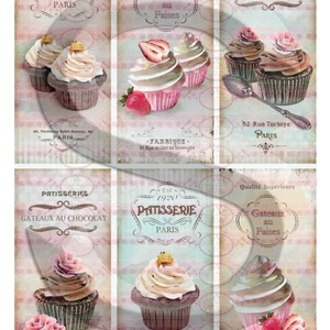 Vintage sorozat: Muffinok, Papír, Decoupage papír, Decoupage, szalvétatechnika, Decoupage minták, A 4-s méretű rizsnyomat, vékony 20 gr-s rizspapíron, découpage technikához. Az eredeti nyomatot vízj..., Meska