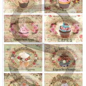 Vintage sorozat: Muffinok és rózsák, Papír, Decoupage papír, Decoupage, szalvétatechnika, Decoupage minták, A 4-s méretű rizsnyomat, vékony 20 gr-s rizspapíron, découpage technikához. Az eredeti nyomatot vízj..., Meska