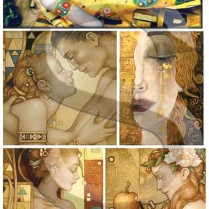 Fantasy sorozat : Klimt-fantázia, Papír, Decoupage papír, Decoupage, szalvétatechnika, Decoupage minták, A 4-s méretű rizsnyomat, vékony 20 gr-s rizspapíron, découpage technikához. Az eredeti nyomatot vízj..., Meska