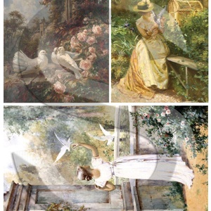 Akvarell sorozat: Galambokkal, Papír, Decoupage papír, Decoupage, szalvétatechnika, Decoupage minták, A 4-s méretű rizsnyomat, vékony 20 gr-s rizspapíron, découpage technikához. Az eredeti nyomatot vízj..., Meska