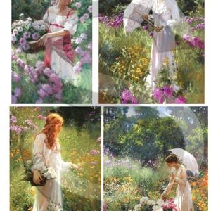 Akvarell sorozat: Hölgyek és virágok, Papír, Decoupage papír, Decoupage, szalvétatechnika, Decoupage minták, A 4-s méretű rizsnyomat, vékony 20 gr-s rizspapíron, découpage technikához. Az eredeti nyomatot vízj..., Meska