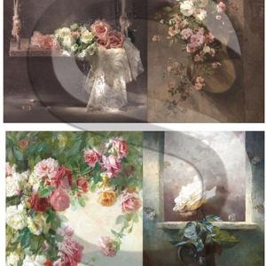 Akvarell sorozat: Rózsa-csendélet, Papír, Decoupage papír, Decoupage, szalvétatechnika, Decoupage minták, A 4-s méretű rizsnyomat, vékony 20 gr-s rizspapíron, découpage technikához. Az eredeti nyomatot vízj..., Meska