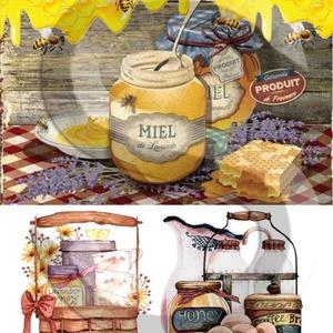 Levendula méz, Papír, Decoupage papír, Decoupage, szalvétatechnika, Decoupage minták, A 4-s méretű rizsnyomat, vékony 20 gr-s rizspapíron, découpage technikához. Az eredeti nyomatot vízj..., Meska