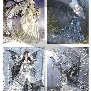 Fantasy sorozat : Erdei tündérek, Papír, Decoupage papír, Decoupage, szalvétatechnika, Decoupage minták, A 4-s méretű rizsnyomat, vékony 20 gr-s rizspapíron, découpage technikához. Az eredeti nyomatot vízj..., Meska