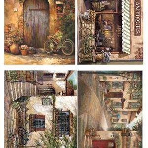 Akvarell sorozat: Provanszi bicikli, Papír, Decoupage papír, A 4-s méretű rizsnyomat, vékony 20 gr-s rizspapíron, découpage technikához. Az eredeti nyomatot vízj..., Meska