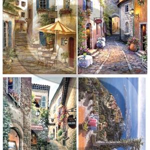 Akvarell sorozat: Provanszi falvak, Papír, Decoupage papír, Decoupage, szalvétatechnika, Decoupage minták, A 4-s méretű rizsnyomat, vékony 20 gr-s rizspapíron, découpage technikához. Az eredeti nyomatot vízj..., Meska
