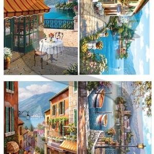 Akvarell sorozat: Olasz tóvidék, Papír, Decoupage papír, Decoupage, szalvétatechnika, Decoupage minták, A 4-s méretű rizsnyomat, vékony 20 gr-s rizspapíron, découpage technikához. Az eredeti nyomatot vízj..., Meska