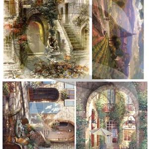 Akvarell sorozat: Provence, Papír, Decoupage papír, Decoupage, szalvétatechnika, Decoupage minták, A 4-s méretű rizsnyomat, vékony 20 gr-s rizspapíron, découpage technikához. Az eredeti nyomatot vízj..., Meska