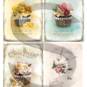 Vintage sorozat: Romantikus muffinok, Papír, Decoupage papír, Decoupage, szalvétatechnika, Decoupage minták, A 4-s méretű rizsnyomat, vékony 20 gr-s rizspapíron, découpage technikához. Az eredeti nyomatot vízj..., Meska