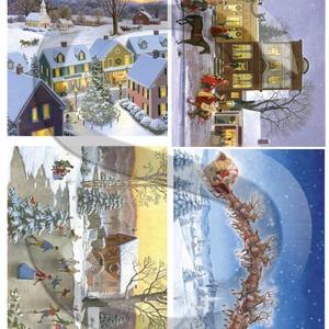 Karácsonyi sorozat: Karácsonyi meseváros, Papír, Decoupage papír, Decoupage, szalvétatechnika, Decoupage minták, A 4-s méretű rizsnyomat, vékony 20 gr-s rizspapíron, découpage technikához. Az eredeti nyomatot vízj..., Meska