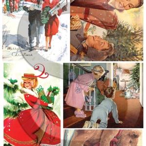 Karácsonyi sorozat: Karácsonyi retro, Papír, Decoupage papír, Decoupage, szalvétatechnika, Decoupage minták, A 4-s méretű rizsnyomat, vékony 20 gr-s rizspapíron, découpage technikához. Az eredeti nyomatot vízj..., Meska