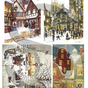 Karácsonyi sorozat: Karácsonyi város, Papír, Decoupage papír, Decoupage, szalvétatechnika, Decoupage minták, A 4-s méretű rizsnyomat, vékony 20 gr-s rizspapíron, découpage technikához. Az eredeti nyomatot vízj..., Meska