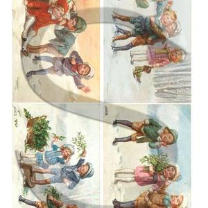 Karácsonyi sorozat: Vidám gyerekek, Papír, Decoupage papír, Decoupage, szalvétatechnika, Decoupage minták, A 4-s méretű rizsnyomat, vékony 20 gr-s rizspapíron, découpage technikához. Az eredeti nyomatot vízj..., Meska