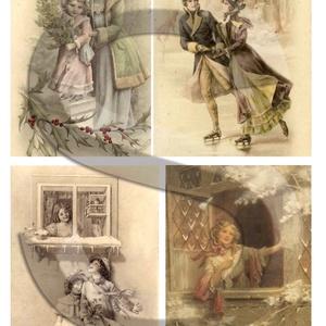 Karácsonyi sorozat: Téli romantika, Papír, Decoupage papír, Decoupage, szalvétatechnika, Decoupage minták, A 4-s méretű rizsnyomat, vékony 20 gr-s rizspapíron, découpage technikához. Az eredeti nyomatot vízj..., Meska