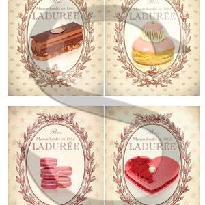 Vintage sorozat: Párizsi cukrászsütemények, Papír, Decoupage papír, Decoupage, szalvétatechnika, Decoupage minták, A 4-s méretű rizsnyomat, vékony 20 gr-s rizspapíron, découpage technikához. Az eredeti nyomatot vízj..., Meska
