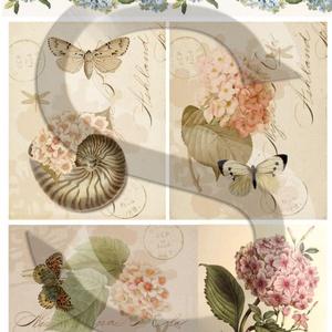 Virág sorozat: Hortenzia, Papír, Decoupage papír, A 4-s méretű rizsnyomat, vékony 20 gr-s rizspapíron, découpage technikához. Az eredeti nyomatot vízj..., Meska