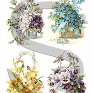 Tavaszi virágkosarak, Papír, Decoupage papír, A 4-s méretű rizsnyomat, vékony 20 gr-s rizspapíron, découpage technikához. Az eredeti nyomatot vízj..., Meska